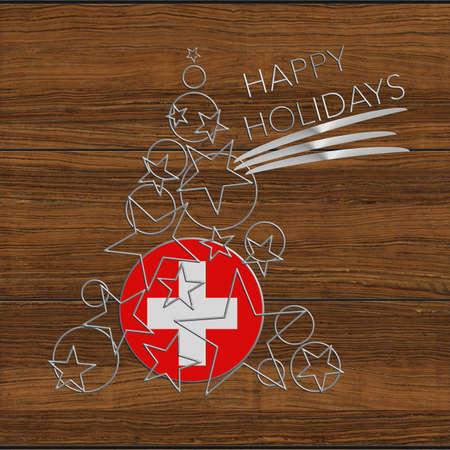 Happy Christmas tree Kolidays steel and wood Switzerland