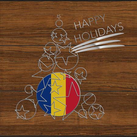Happy Christmas tree Kolidays steel and wood Romania