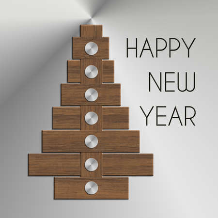 felice: Christmas tree Happy New Year steel and wood Stock Photo