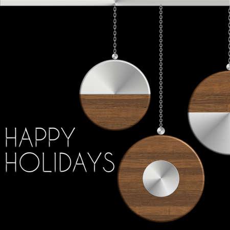 gingillo Natale Happy Holidays in acciaio e legno