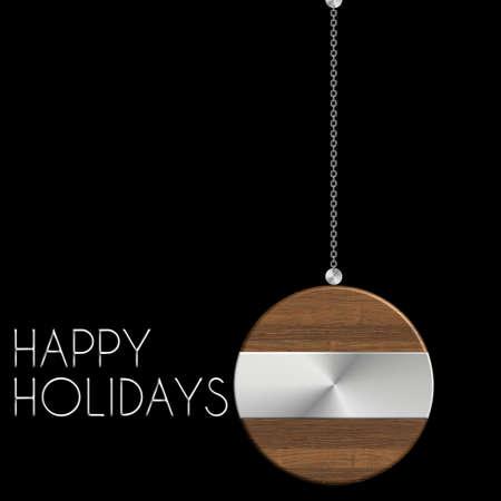 gingillo Natale Happy Holidays in acciaio e legno Archivio Fotografico
