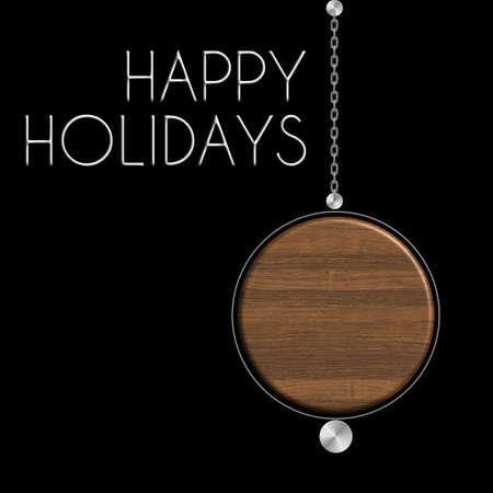 Palla Happy Holiday in acciaio e legno Archivio Fotografico
