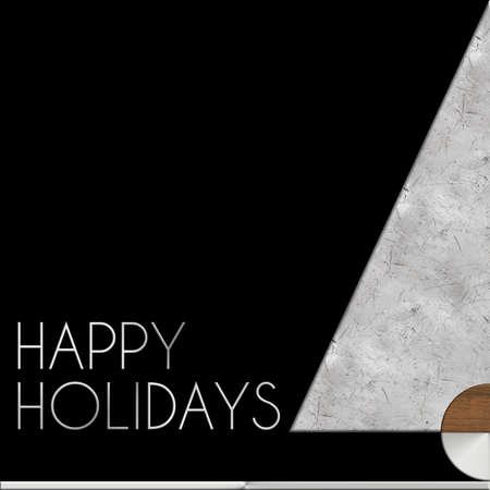 Albero di Natale Felice Vacanze in acciaio e legno