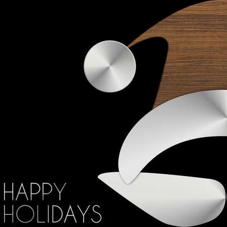 Babbo Natale Happy Holidays in acciaio e legno Archivio Fotografico