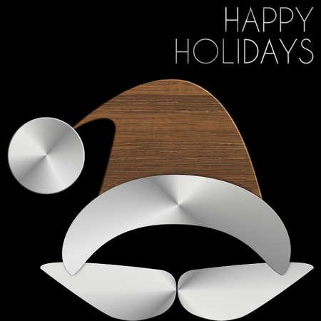 Babbo Natale Happy Holidays in acciaio e legno