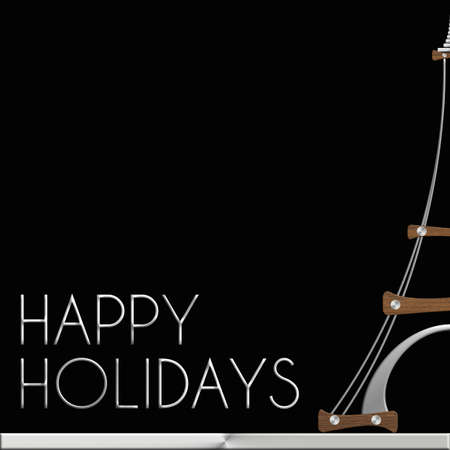 Torre Eiffel Happy Holidays in acciaio e legno Archivio Fotografico
