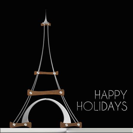 Torre Eiffel Happy Holidays in acciaio e legno