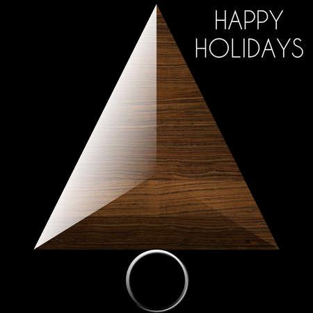 Albero di Natale Felice Vacanze in acciaio e legno Archivio Fotografico