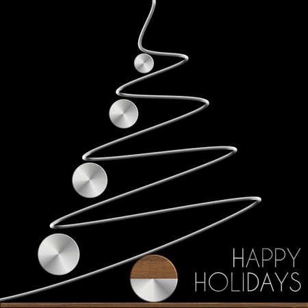 Albero di Natale Happy Holidays in acciaio e legno