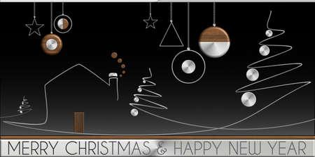 Albero di Natale e Buon Natale casa in acciaio e legno
