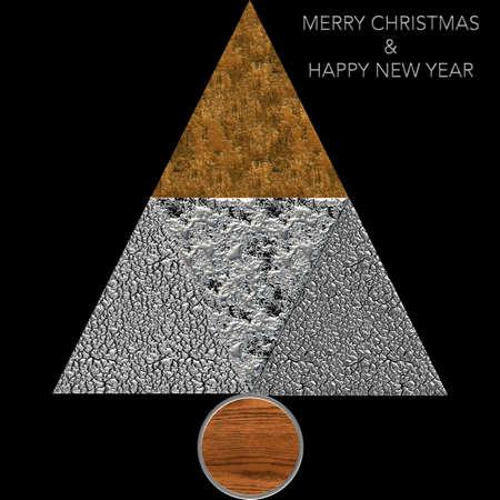 Albero di Natale Buon Natale in acciaio e legno Archivio Fotografico