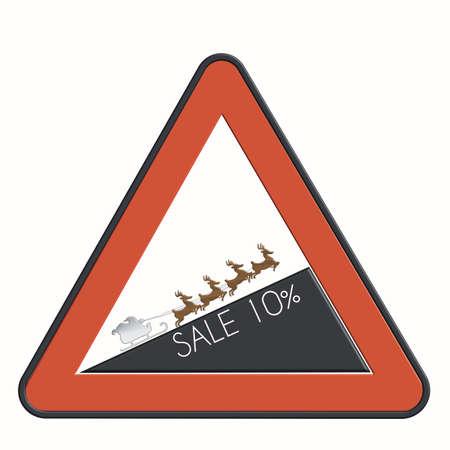 felice: Road sign discount 10% Santa Claus