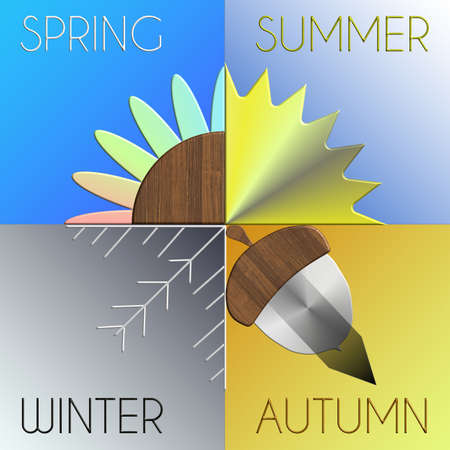 The seasons in metal and wood with details Autumn