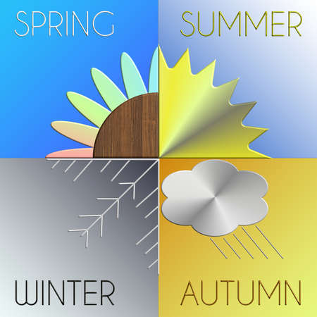 natura: The seasons in metal and wood with gradation background
