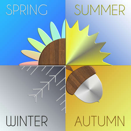 The seasons in metal and wood with gradazion background