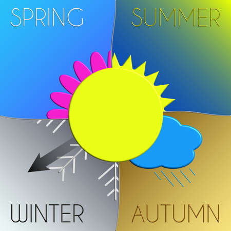 natura: Seasons with symbols and indication Winter