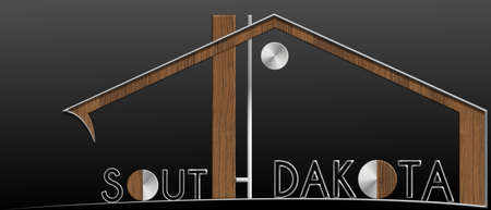immobile: South Dakota building with metal and wood profile Stock Photo