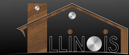 immobile: Illinois Building with metal and wood profile Stock Photo