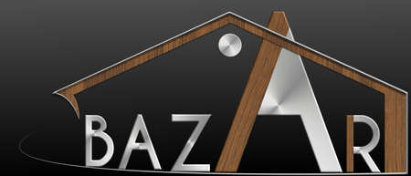 immobile: Bazaar with building metal and wood profile Stock Photo