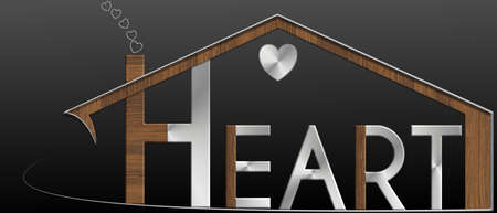 immobile: Heart with building metal profile and wood