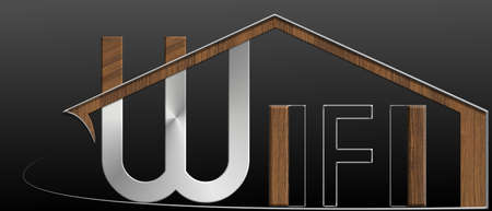 immobile: Wifi building with metal and wood profile Stock Photo