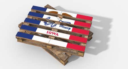 icona: 3D flag Iowa pallets Stock Photo