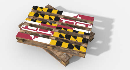 maryland flag: 3D Maryland flag pallets Stock Photo