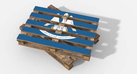 icona: 3D flag Louisiana pallets Stock Photo