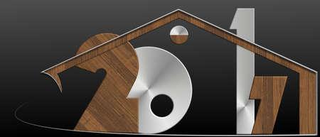 2017 edificio con metallo e profilo in legno Archivio Fotografico