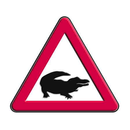 Warning or caution of red crocodiles