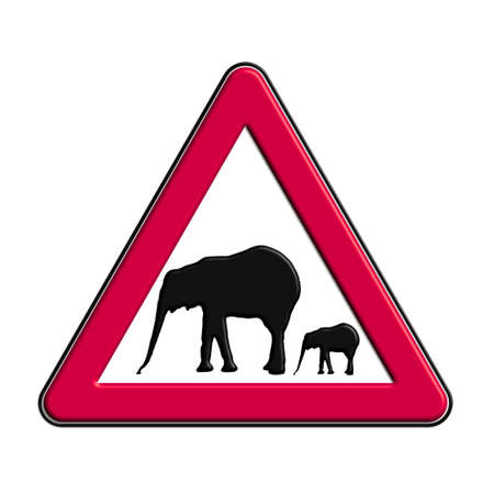icona: Warning or red attention elephants Stock Photo