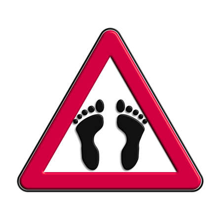Warning or red attention pedestrians