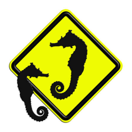 icona: Warning or caution in yellow and black seahorses