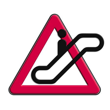 Warning or Caution Red escalators