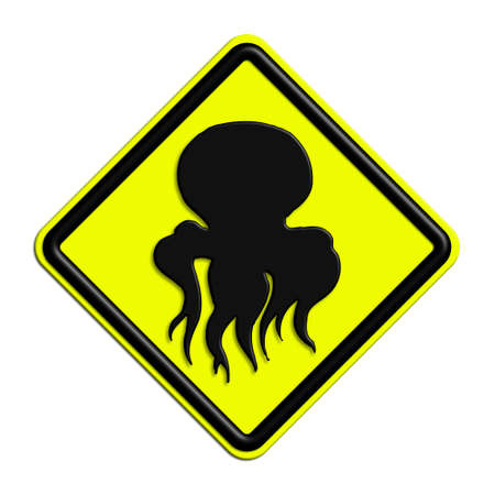 black octopus: Warning or caution in yellow and black octopus