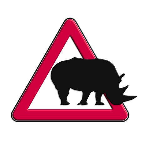 Warning or Caution Red rhinos