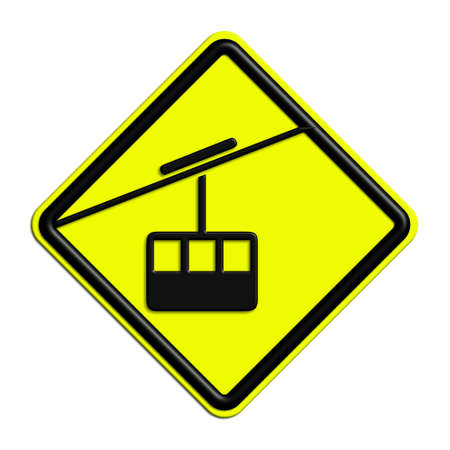 icona: Warning or caution in yellow and black cable car Stock Photo