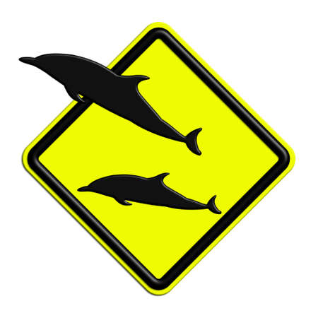 icona: Warning or caution in yellow and black dolphins