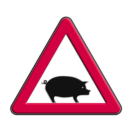 Warning or caution in red pork
