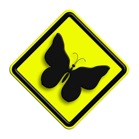 icona: Warning or caution in yellow and black butterflies Stock Photo