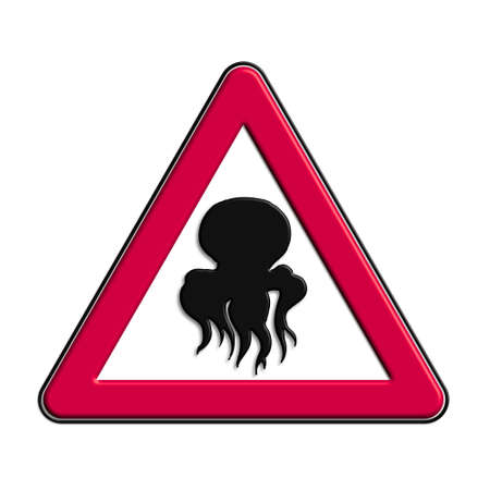 Warning or caution in red octopus