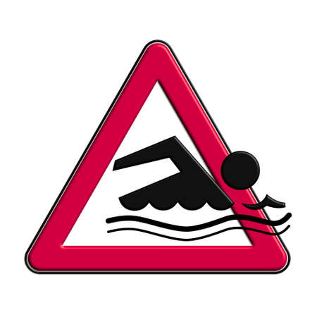 Warning or caution in red bathing Stock Photo