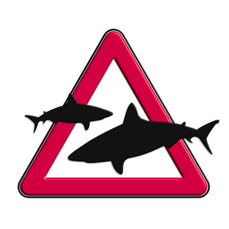 Warning or caution in red sharks