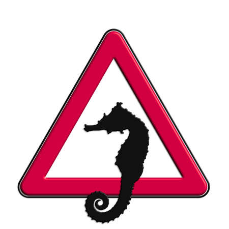 Warning or caution in red seahorse