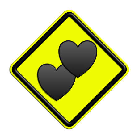 icona: Warning or caution yellow and black falling in love