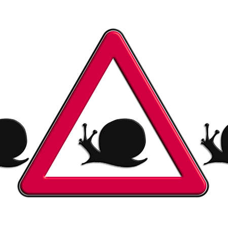 Warning or caution in red snails