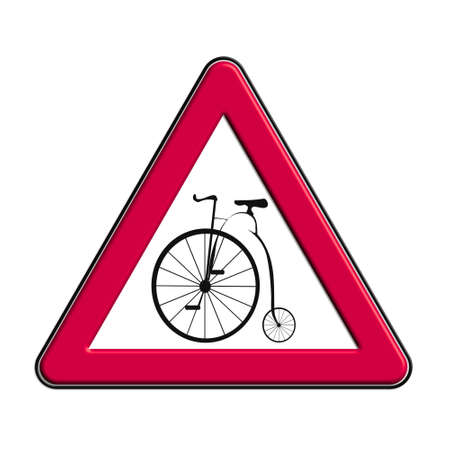 Warning or caution in red cyclists