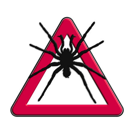 Warning or caution in red spiders Stock Photo