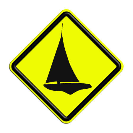 icona: Warning or caution yellow and black boat