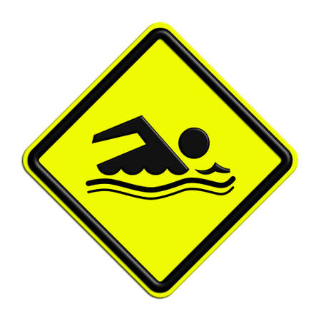 icona: Warning attention or yellow and black bathing Stock Photo